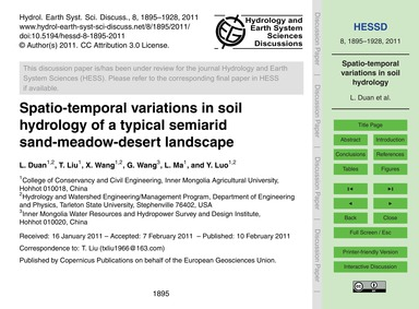 Spatio-temporal Variations in Soil Hydro... by Duan, L.