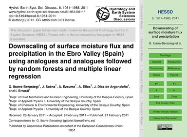 Downscaling of Surface Moisture Flux and... by Ibarra-berastegi, G.