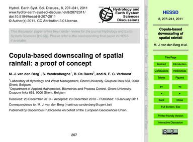 Copula-based Downscaling of Spatial Rain... by Van Den Berg, M. J.