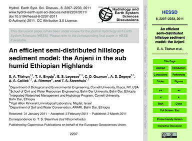An Efficient Semi-distributed Hillslope ... by Tilahun, S. A.