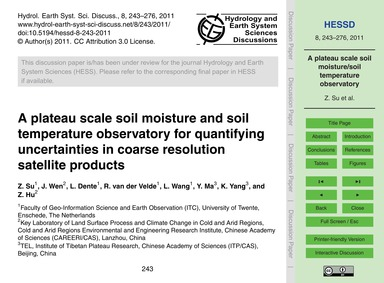 A Plateau Scale Soil Moisture and Soil T... by Su, Z.