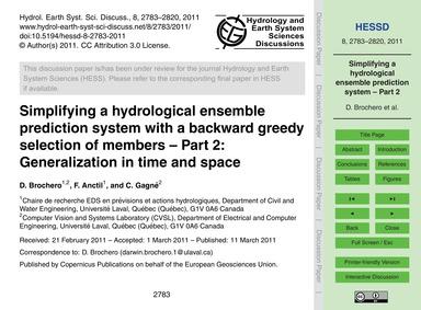 Simplifying a Hydrological Ensemble Pred... by Brochero, D.