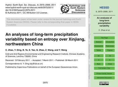 An Analyses of Long-term Precipitation V... by Zhao, C.
