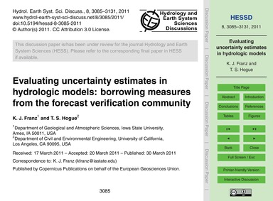 Evaluating Uncertainty Estimates in Hydr... by Franz, K. J.