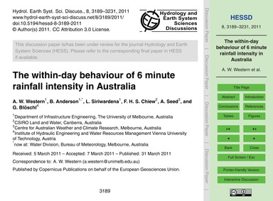 The Within-day Behaviour of 6 Minute Rai... by Western, A. W.