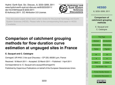 Comparison of Catchment Grouping Methods... by Sauquet, E.