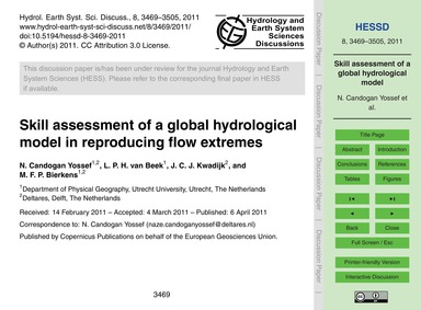 Skill Assessment of a Global Hydrologica... by Candogan Yossef, N.