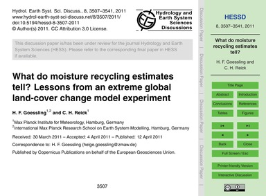 What Do Moisture Recycling Estimates Tel... by Goessling, H. F.