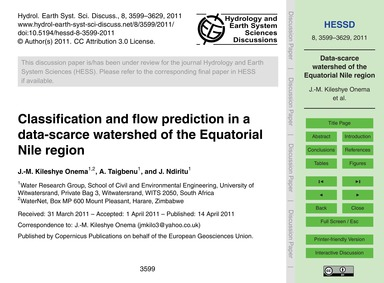 Classification and Flow Prediction in a ... by Kileshye Onema, J.-m.