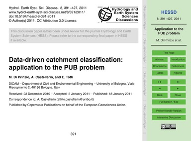 Data-driven Catchment Classification: Ap... by Di Prinzio, M.