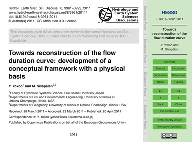 Towards Reconstruction of the Flow Durat... by Yokoo, Y.