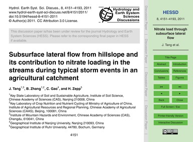 Subsurface Lateral Flow from Hillslope a... by Tang, J.