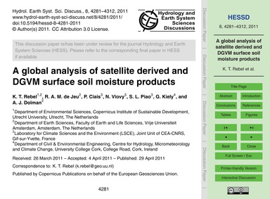 A Global Analysis of Satellite Derived a... by Rebel, K. T.