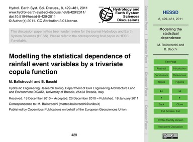 Modelling the Statistical Dependence of ... by Balistrocchi, M.