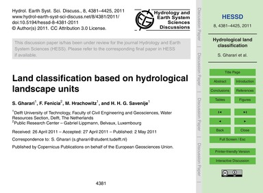Land Classification Based on Hydrologica... by Gharari, S.