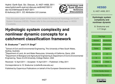 Hydrologic System Complexity and Nonline... by Sivakumar, B.