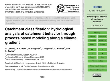 Catchment Classification: Hydrological A... by Carrillo, G.