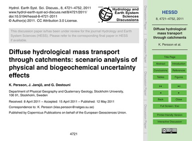 Diffuse Hydrological Mass Transport Thro... by Persson, K.
