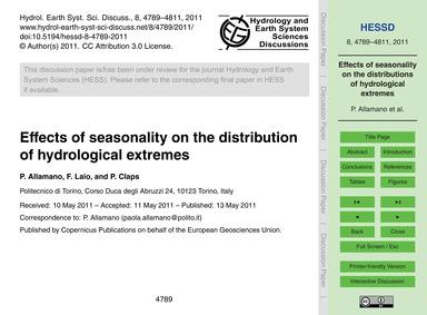 Effects of Seasonality on the Distributi... by Allamano, P.