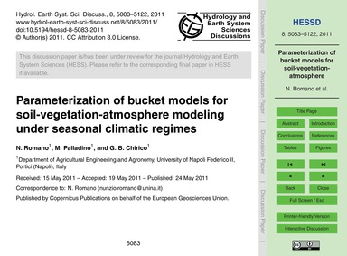 Parameterization of Bucket Models for So... by Romano, N.