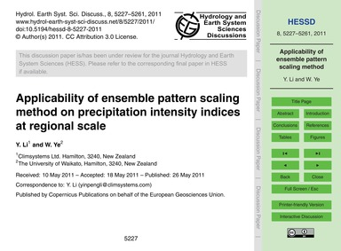 Applicability of Ensemble Pattern Scalin... by Li, Y.