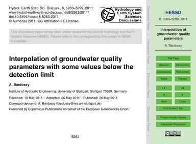 Interpolation of Groundwater Quality Par... by Bárdossy, A.