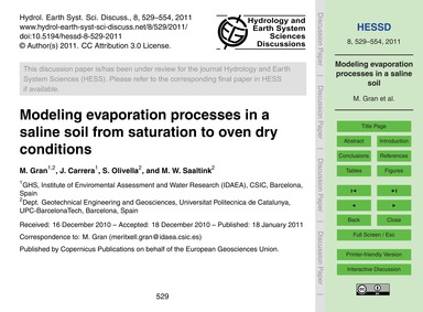 Modeling Evaporation Processes in a Sali... by Gran, M.