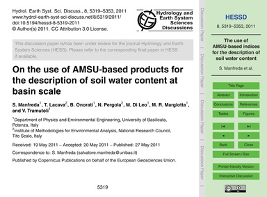 On the Use of Amsu-based Products for th... by Manfreda, S.