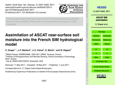 Assimilation of Ascat Near-surface Soil ... by Draper, C.