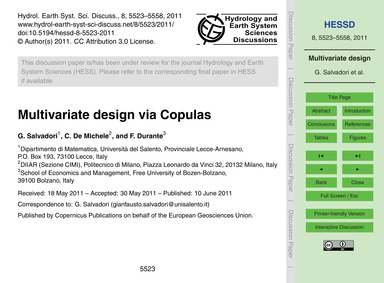 Multivariate Design Via Copulas : Volume... by Salvadori, G.