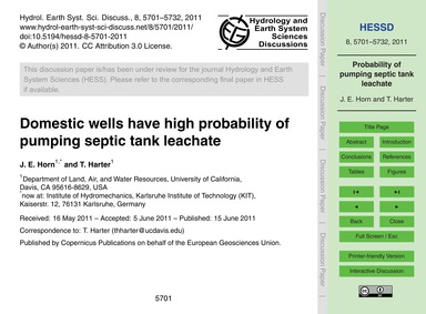 Domestic Wells Have High Probability of ... by Horn, J. E.