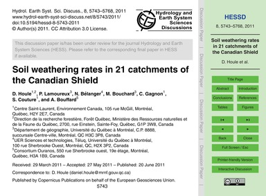 Soil Weathering Rates in 21 Catchments o... by Houle, D.