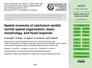 Spatial Moments of Catchment Rainfall: R... by Zoccatelli, D.