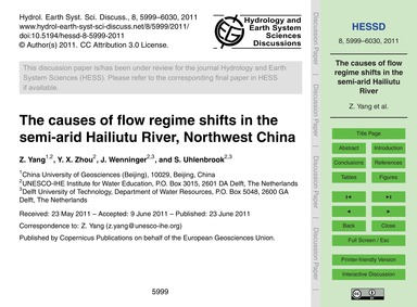 The Causes of Flow Regime Shifts in the ... by Yang, Z.