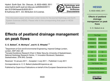 Effects of Peatland Drainage Management ... by Ballard, C. E.