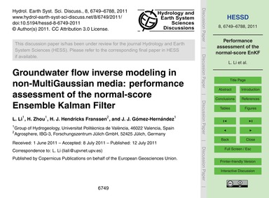 Groundwater Flow Inverse Modeling in Non... by Li, L.