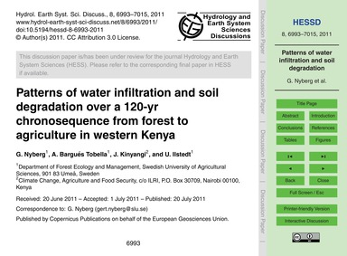 Patterns of Water Infiltration and Soil ... by Nyberg, G.