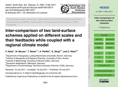 Inter-comparison of Two Land-surface Sch... by Zabel, F.