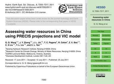 Assessing Water Resources in China Using... by Wang, G. Q.