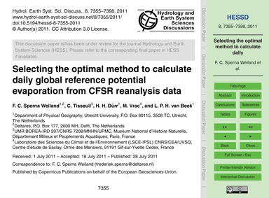 Selecting the Optimal Method to Calculat... by Sperna Weiland, F. C.