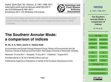 The Southern Annular Mode: a Comparison ... by Ho, M.