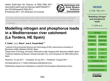 Modelling Nitrogen and Phosphorus Loads ... by Caille, F.
