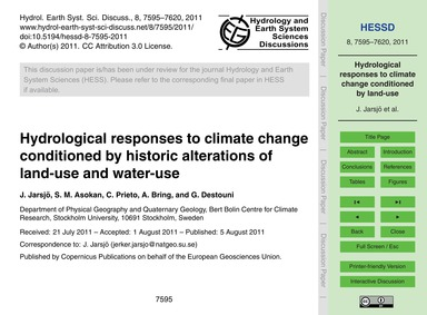 Hydrological Responses to Climate Change... by Jarsjö, J.