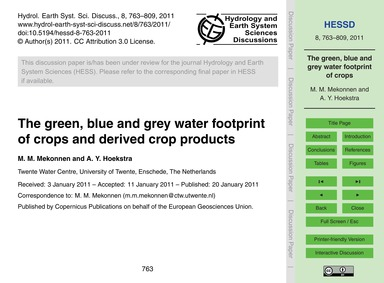 The Green, Blue and Grey Water Footprint... by Mekonnen, M. M.
