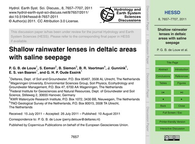 Shallow Rainwater Lenses in Deltaic Area... by De Louw, P. G. B.
