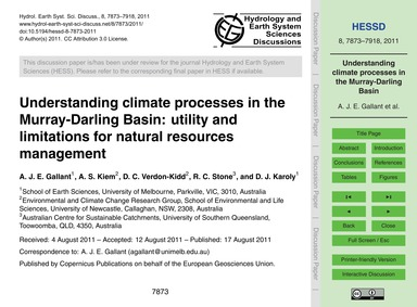 Understanding Climate Processes in the M... by Gallant, A. J. E.