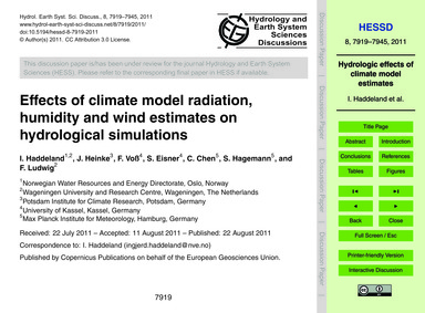 Effects of Climate Model Radiation, Humi... by Haddeland, I.