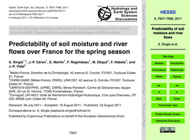 Predictability of Soil Moisture and Rive... by Singla, S.