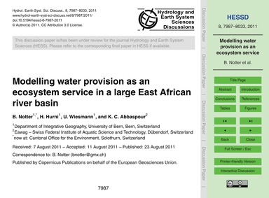 Modelling Water Provision as an Ecosyste... by Notter, B.