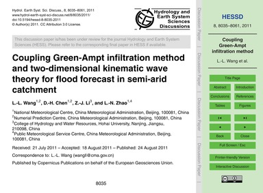 Coupling Green-ampt Infiltration Method ... by Wang, L.-l.